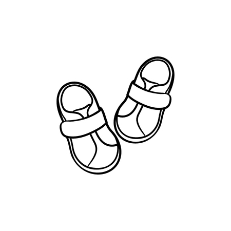 Baby shoes hand drawn outline doodle icon. Footware, booties for infants, little kids shoes concept. Vector sketch illustration for print, web, mobile and infographics isolated on white background.