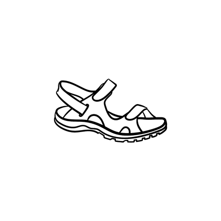 Realistic child sandal drawn outline doodle icon. Footware, kids shoes, comfort walking concept. Vector sketch illustration for print, web, mobile and infographics isolated on white background.