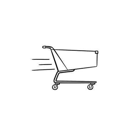 Fast delivery shopping cart hand drawn outline doodle icon. Market, sales, commerce, online service concept. Vector sketch illustration for print, web, mobile and infographics on white background.