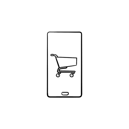 Shopping cart on mobile phone screen hand drawn outline doodle icon. App shop, purchase, online, sale concept. Vector sketch illustration for print, web, mobile and infographics on white background.
