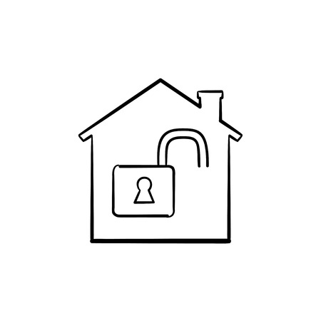 House with open padlock inside hand drawn outline doodle icon. Privacy, protection, security, estate concept. Vector sketch illustration for print, web, mobile and infographics on white background.  イラスト・ベクター素材