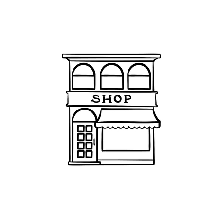 Front of shopping store hand drawn outline doodle icon. Local shop, retail, store front, sales concept. Vector sketch illustration for print, web, mobile and infographics on white background. 向量圖像