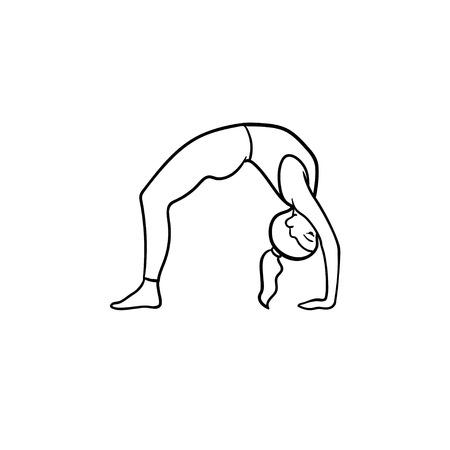 Donna che pratica yoga ponte posa icona doodle contorni disegnati a mano. Stile di vita sano, concetto di benessere yoga. Illustrazione di schizzo vettoriale per stampa, web, mobile e infografica su sfondo bianco. Vettoriali