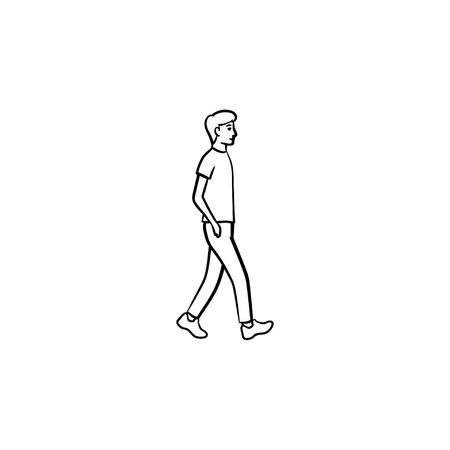 Icône de doodle contour dessiné main personne qui marche. Piéton, loisirs, rue de la ville, concept de mode de vie sain. Illustration de croquis de vecteur pour l'impression, le web, le mobile et l'infographie sur fond blanc.