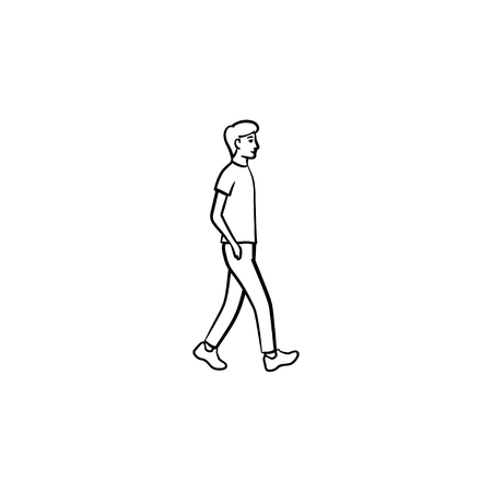 Walking person hand drawn outline doodle icon. Pedestrian, recreation, city street, healthy lifestyle concept. Vector sketch illustration for print, web, mobile and infographics on white background.