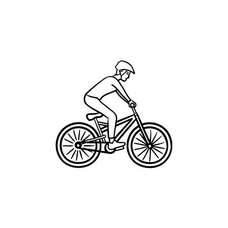 Mountain biker hand drawn outline doodle icon. Cycling competition, summer sport, cross country racing concept. Vector sketch illustration for print, web, mobile and infographics on white background. Ilustração