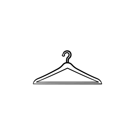 Clothes hanger hand drawn outline doodle icon. Fashion store, shop sale, buying clothes, wardrobe concept. Vector sketch illustration for print, web, mobile and infographics on white background. Ilustracja