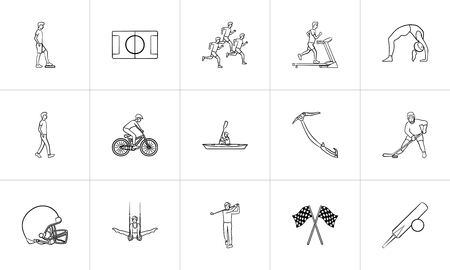 Sports hand drawn outline doodle icon set. Outline doodle icon set for print, web, mobile and infographics. Fitness, sport and activities vector sketch illustration set isolated on white background. Banque d'images - 126008641