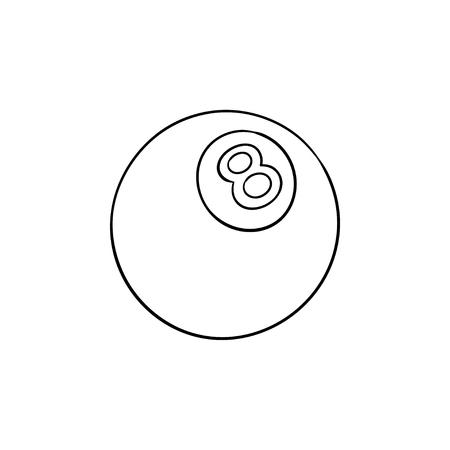 Icône de doodle de contour dessiné à la main de huit boules de piscine. Compétition de billard, loisirs, concept d'objet de jeu de billard. Illustration de croquis de vecteur pour l'impression, le web, le mobile et l'infographie sur fond blanc. Vecteurs