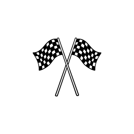 Crossed black and white checkered flags hand drawn outline doodle icon. Racing finish, speed victory concept. Vector sketch illustration for print, web, mobile and infographics on white background.