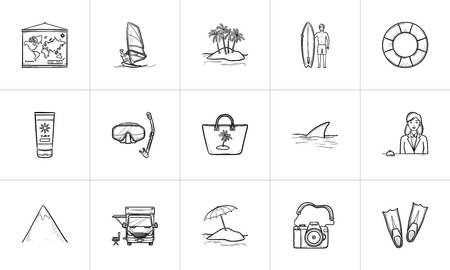 Summer vacation hand drawn outline doodle icon set. Outline doodle icon set for print, web, mobile and infographics. Tourism and beach vector sketch illustration set isolated on white background.  イラスト・ベクター素材