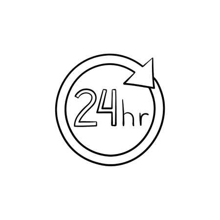 24 hours available circle hand drawn outline doodle icon. Customer service, assistance, online shopping concept. Vector sketch illustration for print, web, mobile and infographics on white background.