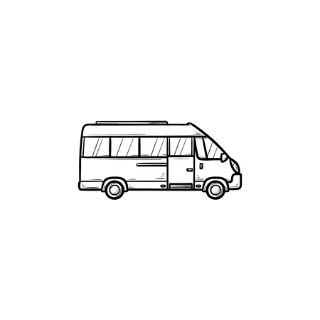 Minibus hand drawn outline doodle icon. Passenger bus and transportation, delivery van, tourism concept. Vector sketch illustration for print, web, mobile and infographics on white background. Illustration