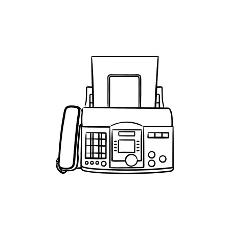 Fax machine with a sheet of paper hand drawn outline doodle icon. Business communication technology concept. Vector sketch illustration for print, web, mobile and infographics on white background. 向量圖像