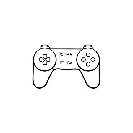 Game joystick hand drawn outline doodle icon. Video game controller and gamepad, pc game controller concept. Vector sketch illustration for print, web, mobile and infographics on white background.