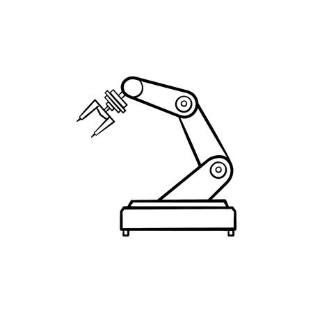 Icona di doodle contorni disegnati a mano braccio robotico. Robot industriale, industria e tecnologia robotica, concetto di macchina. Illustrazione di schizzo di vettore per stampa, web, mobile e infografiche su sfondo bianco.