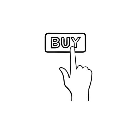 Finger clicks on buy button hand drawn outline doodle icon. E-commerce, purchase, online shopping apps concept. Vector sketch illustration for print, web, mobile and infographics on white background.