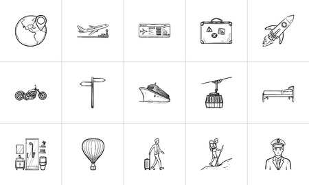 Travel and transport hand drawn outline doodle icon set. Outline doodle icon set for print, web, mobile and infographics. Tourism vector sketch illustration set isolated on white background. 向量圖像