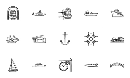 Transport vehicles hand drawn outline doodle icon set. Outline doodle icon set for print, web, mobile and infographics. Boat and train vector sketch illustration set isolated on white background.