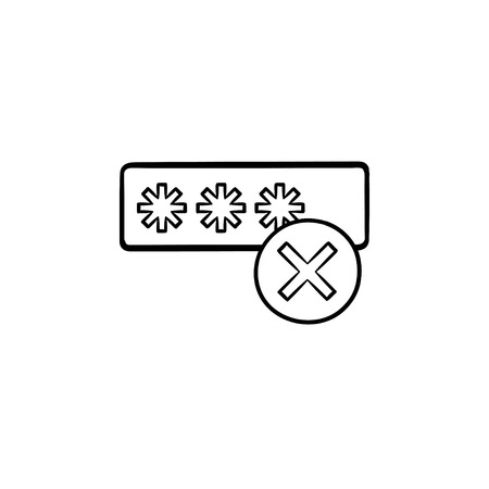 Entering login and fail hand drawn outline doodle icon. User access, security and wrong login concept. Vector sketch illustration for print, web, mobile and infographics on white background.