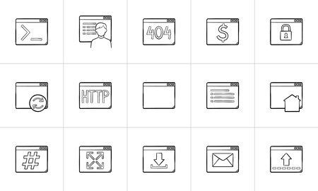 Browser windows hand drawn outline doodle icon set. Outline doodle icon set for print, web, mobile and infographics. Website and coding vector sketch illustration set isolated on white background.