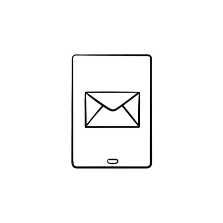 New email notification on mobile phone hand drawn outline doodle icon. Red e-mail message, inbox concept. Vector sketch illustration for print, web, mobile and infographics on white background. Illustration