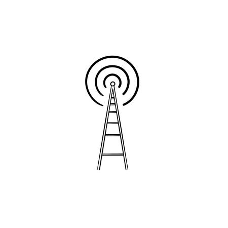 Radio tower hand drawn outline doodle icon. Radio antenna, wireless communication, broadcast concept. Vector sketch illustration for print, web, mobile and infographics on white background. Banque d'images - 125970631