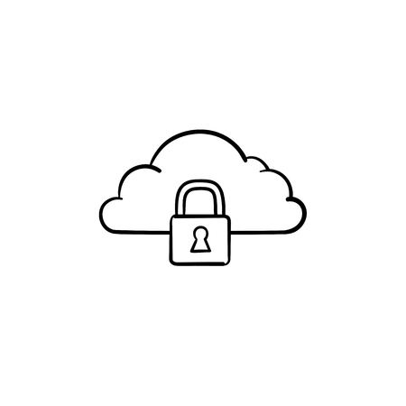Cloud with padlock hand drawn outline doodle icon. Internet and password, data protection, security concept. Vector sketch illustration for print, web, mobile and infographics on white background.