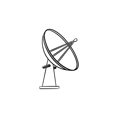 Satellite antenna hand drawn outline doodle icon. Wireless communication, broadcast technology, radar concept. Vector sketch illustration for print, web, mobile and infographics on white background. Ilustrace