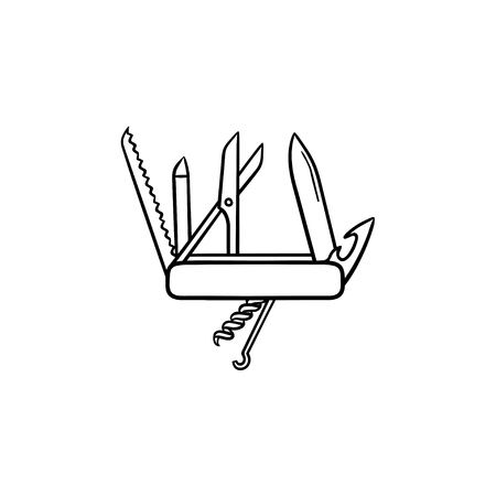 Swiss folding knife hand drawn outline doodle icon. Multipurpose and and army knife, penknife concept. Vector sketch illustration for print, web, mobile and infographics on white background.