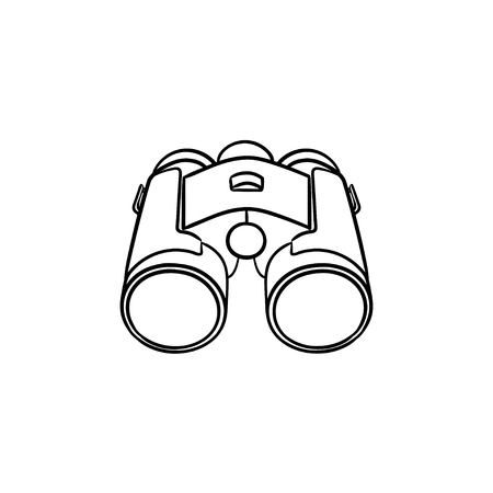 Binoculars hand drawn outline doodle icon. Optical and spy equipment, search, watch and zoom concept. Vector sketch illustration for print, web, mobile and infographics on white background.