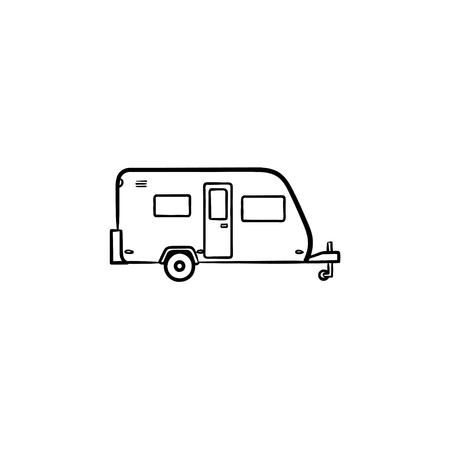 Camper hand drawn outline doodle icon. Camping trailer, vacation and travel, tourism and journey concept. Vector sketch illustration for print, web, mobile and infographics on white background.
