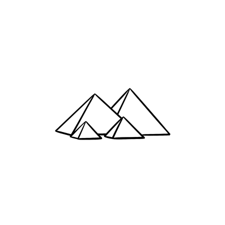 Egypt pyramids hand drawn outline doodle icon. Antient monument and tourism, history landmark concept. Vector sketch illustration for print, web, mobile and infographics on white background. Illustration