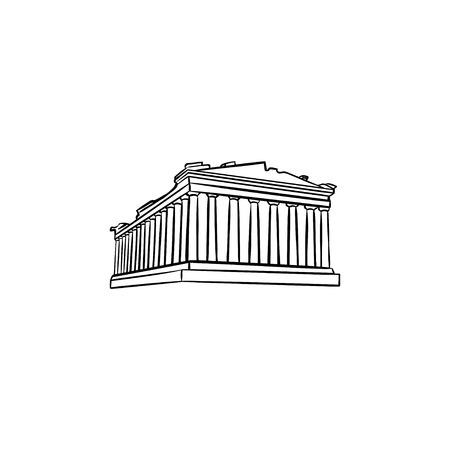 Hand gezeichnete Umriss-Gekritzelikone der Akropolis in Athen. Der Parthenon und Antient Tempel, Tourismuskonzept. Vektorskizzenillustration für Druck, Web, Handy und Infografiken auf weißem Hintergrund. Vektorgrafik