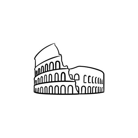 Hand gezeichnete Umriss-Gekritzelikone des Rom-Kolosseums. Berühmtes italienisches Wahrzeichen, Reise- und Antient-Amphitheater-Konzept. Vektorskizzenillustration für Druck, Web, Handy und Infografiken auf weißem Hintergrund.