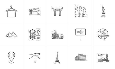 Reisen Sie Sehenswürdigkeiten handgezeichnete Umriss-Doodle-Icon-Set. Umriss-Doodle-Icon-Set für Print, Web, Mobile und Infografiken. Reise- und Ferienvektorskizzenillustrationssatz lokalisiert auf weißem Hintergrund.
