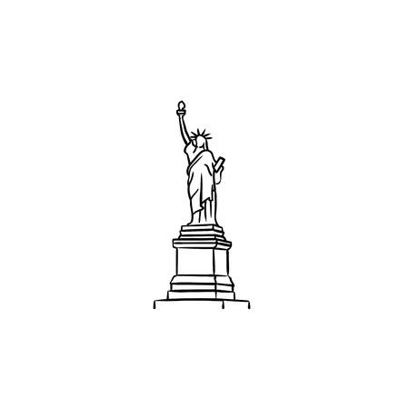The Statue of Liberty hand drawn outline doodle icon. Landmark, tourism and freedom, independence concept. Vector sketch illustration for print, web, mobile and infographics on white background. Çizim