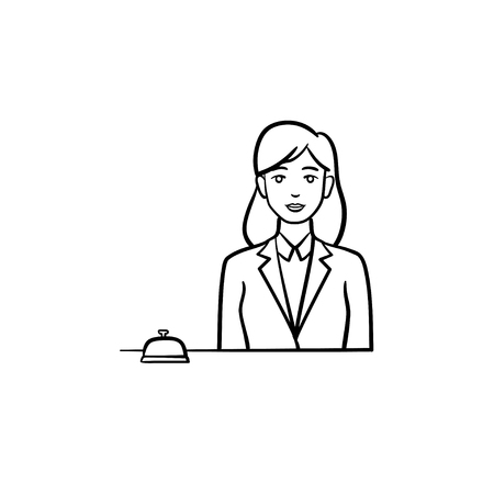 Female receptionist in a hotel with a reception bell hand drawn outline doodle icon. Reception staff concept. Vector sketch illustration for print, web, mobile and infographics on white background.  イラスト・ベクター素材