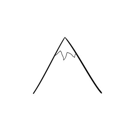 Snow mountain peak hand drawn outline doodle icon. Nature and tourism, travel and landscape concept. Vector sketch illustration for print, web, mobile and infographics on white background. Illustration