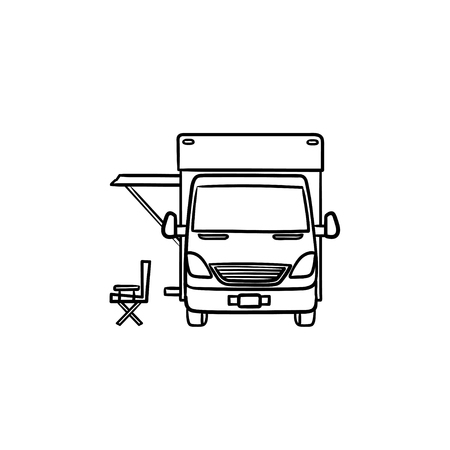 Motorhome with tent hand drawn outline doodle icon. Caravan and vacation, recreation and rv, camper concept. Vector sketch illustration for print, web, mobile and infographics on white background. Foto de archivo - 125970685