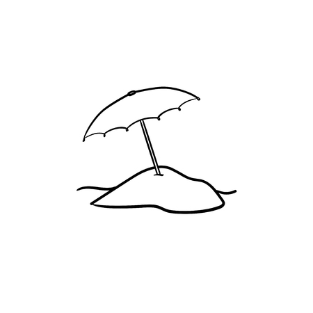 Beach umbrella hand drawn outline doodle icon. Sun protection, summer vacation, relaxation and tourism concept. Vector sketch illustration for print, web, mobile and infographics on white background.