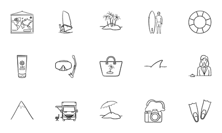 Summer vacation hand drawn outline doodle icon set. Outline doodle icon set for print, web, mobile and infographics. Tourism and beach vector sketch illustration set isolated on white background. Illustration