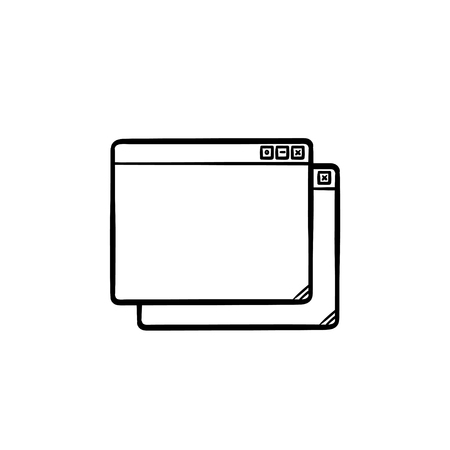 Two browser windows hand drawn outline doodle icon. Internet and interface, cascade windows and search concept. Vector sketch illustration for print, web, mobile and infographics on white background. Illustration