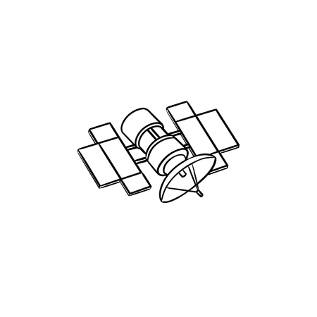 Satellite hand drawn outline doodle icon. Broadcasting and media streaming, navigation, communication concept. Vector sketch illustration for print, web, mobile and infographics on white background. Ilustrace