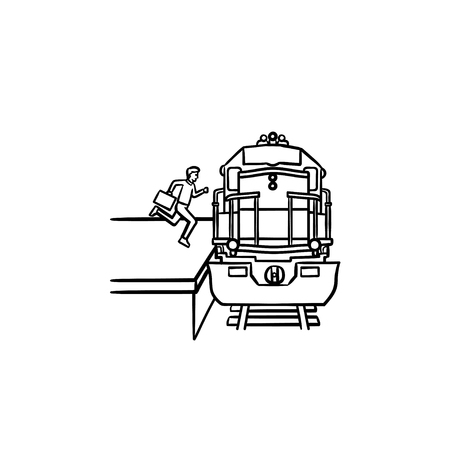 Train station and passenger gets on the train hand drawn outline doodle icon. Railway transport, subway concept. Vector sketch illustration for print, web, mobile and infographics on white background.