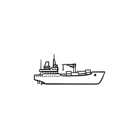 Cargo container ship hand drawn outline doodle icon. Ship transport, shipping, freight transportation concept. Vector sketch illustration for print, web, mobile and infographics on white background.