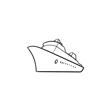 Sea cruise ship hand drawn outline doodle icon. Passenger cruise liner tour, holidays ship travel concept. Vector sketch illustration for print, web, mobile and infographics on white background.