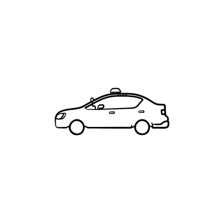 Police car with siren side view hand drawn outline doodle icon. Police patrol, crime security and law concept. Vector sketch illustration for print, web, mobile and infographics on white background. Illustration