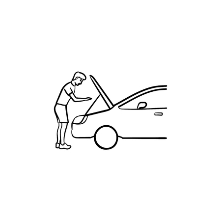 Man under the hood of car hand drawn outline doodle icon. Car repairs and service, car mechanic, engine concept. Vector sketch illustration for print, web, mobile and infographics on white background.