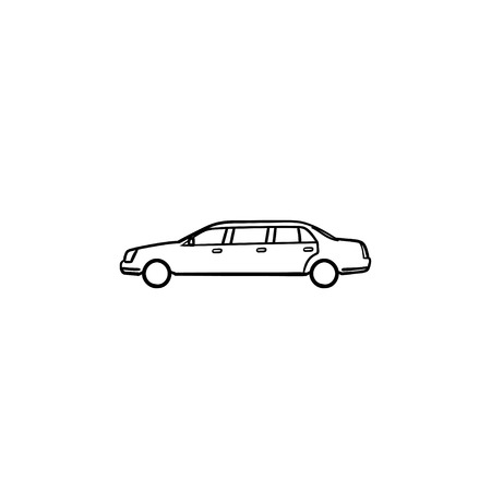 Limousine hand drawn outline doodle icon. Luxury car and city, car transportation and vip, wedding concept. Vector sketch illustration for print, web, mobile and infographics on white background. Illustration